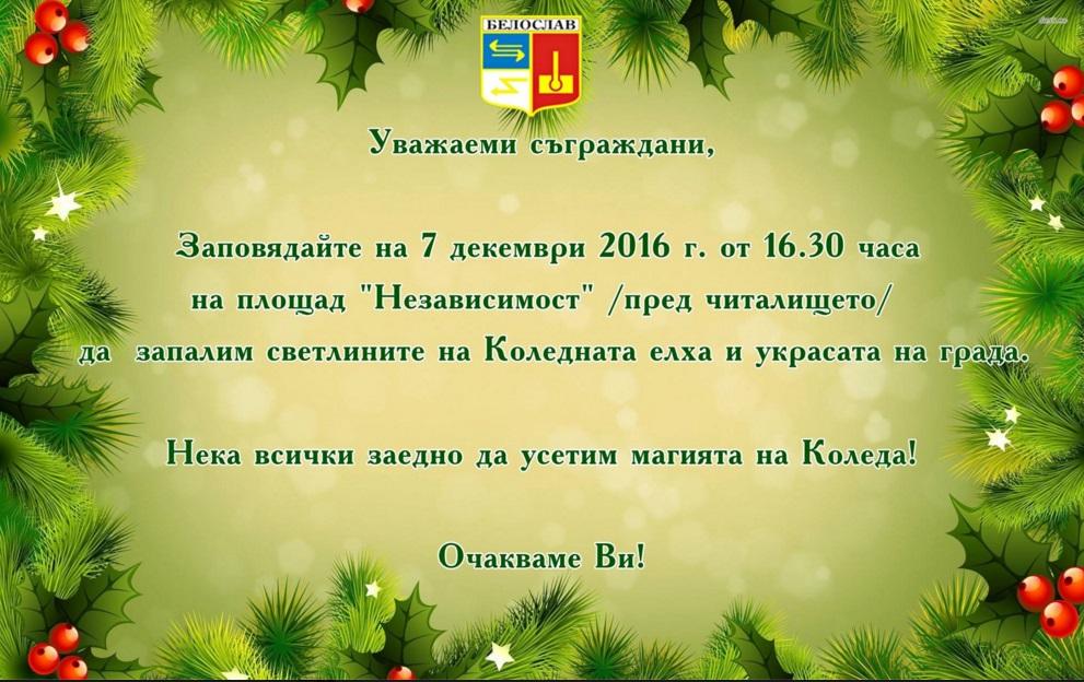 Днес палят светлините на елхата в град Белослав